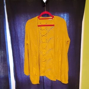 Mustard yellow cable knit cardigan